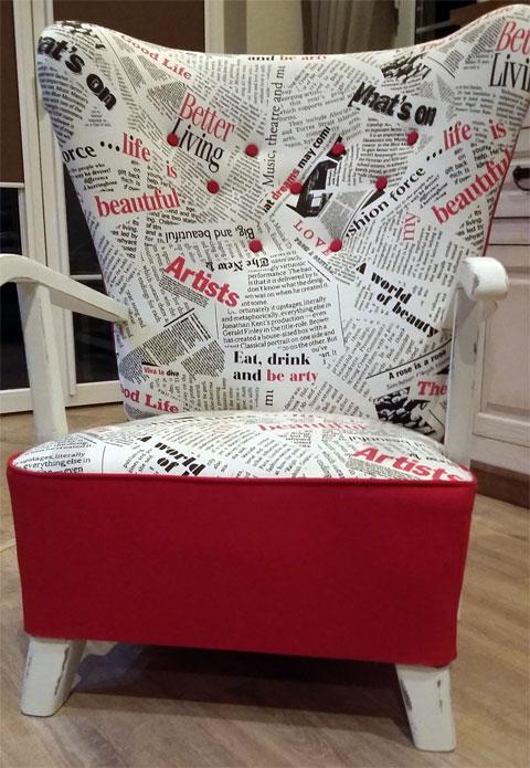 Fotel tapicerowany po zakończeniu stylizacji